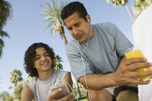 Son and dad on ipod